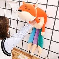 100/140cm Kawaii Fox Plush Toy Soft Stuffed Animal Doll Cartoon Plush Pillow Rainbow Tail Decoration Toys Kid Girl Birthday Gift