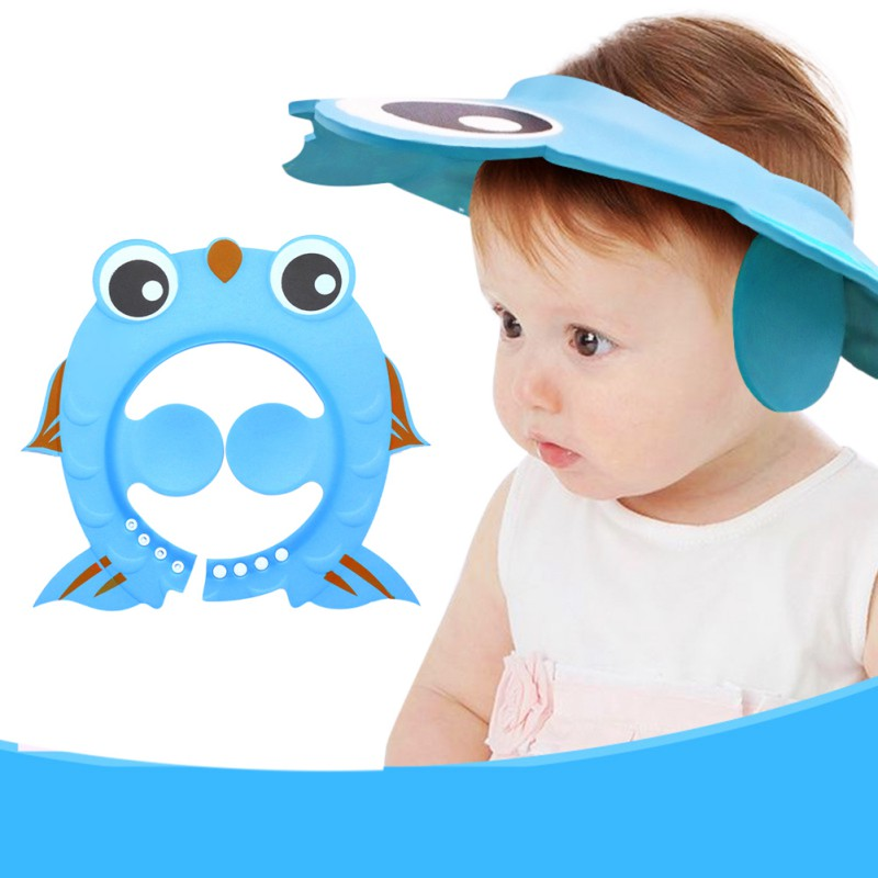 Cartoon Fish Ear Protection Cap Cartoon Design Kids Shampoo Cap Wash Hair Shield Direct Visor Baby Bath Adjustable Hat