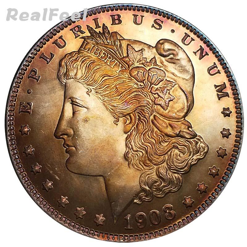 USA 1903 whole version Morgan 1 dollar old copy 90% silver dollar decoration liberty replica toning collectible coins hand craft