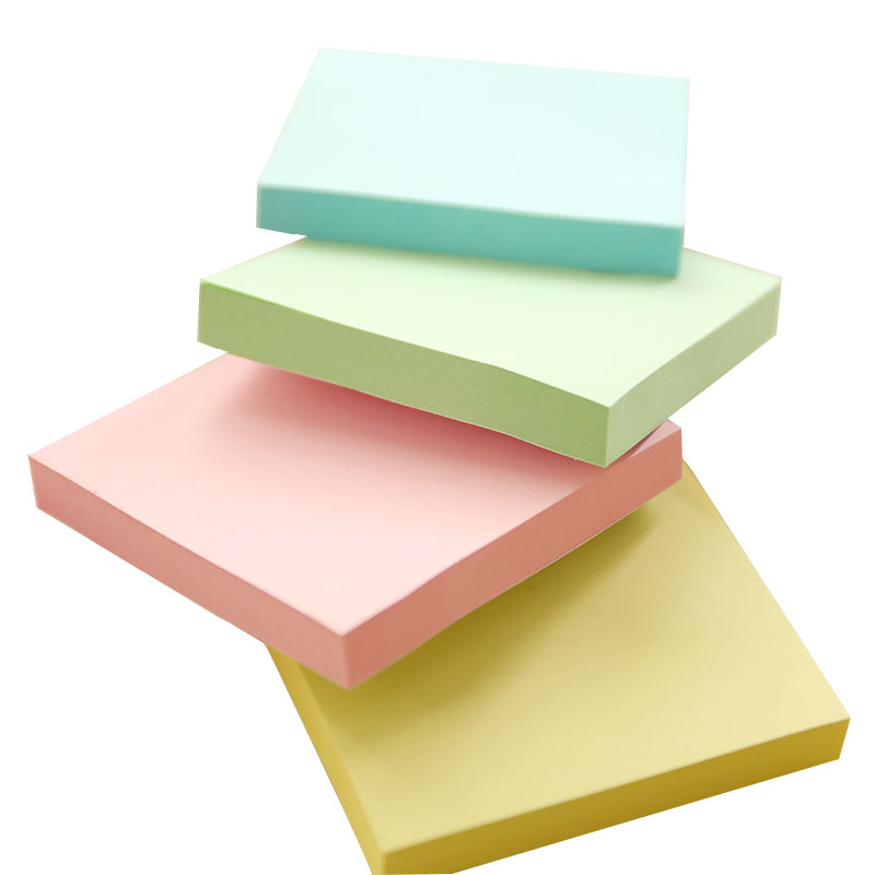 100 Sheets Memo Pad 75*75mm Sticky Notes Blue Green Pink Yellow Notice Stickers N Times Post It Notepad School Office Supplies