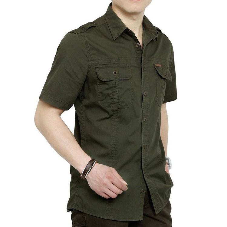 Plus Size xxxxxl Summer Men\'s 100% Cotton Shirts Solid Color Fitness Dress Short Sleeve Shirts Casual Outdoor Men AFS JEEP 5001