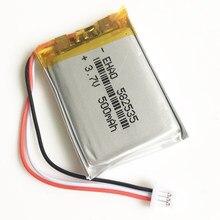 3.7V 500mAh litowo-polimerowa lipo akumulator z JST 1.0mm 3pin złącze 582535 dla Mp3 GPS kamera bluetooth zegarek