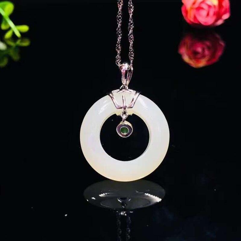 Naturel Hetian blanc Jade pendentif bijoux 925 en argent Sterling collier pendentifs avec chaîne en argent gratuit