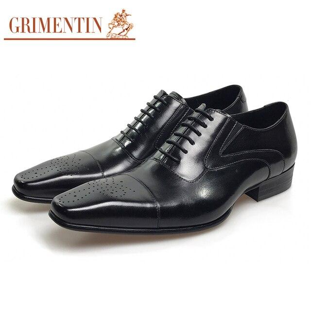 300dbe95cf1 GRIMENTIN Zapatos de vestir de hombre cuero genuino negro italiano moda  negocios oxford zapatos 2017
