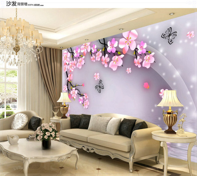 Cheap Sales Super 3d Simple And Stylish Bedroom Living Room Tv Background Peach Blossom Wallpaper Wallpaper