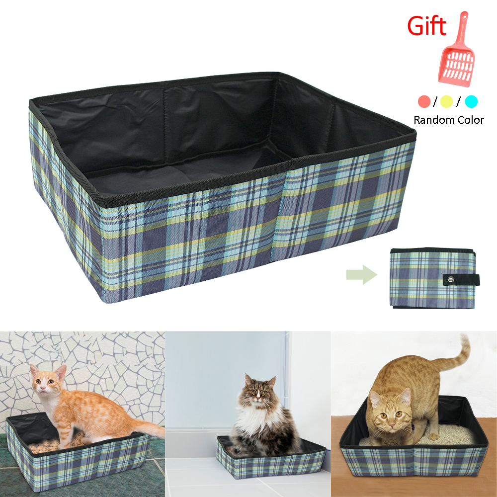 Portable Cat Toilet Bedpans Foldable Travel Cat Litter Box Outdoor Oxford Puppy Kitten Toilet Training Cleaning Product For Cats