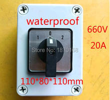 lw26 20 rotary switch knob 2 position 0 1 on off high quality changeover cam switch ui 690v ith 20a 1 pole 4 terminals LW28/SZW26-20/303.3 Ui 660V Ith 20A 3 Position Rotary Cam Changeover Switch w Control waterproof Box