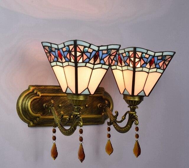 Middellandse Zee blauw Vintage kleur glas kristal wandlamp vierkante ...