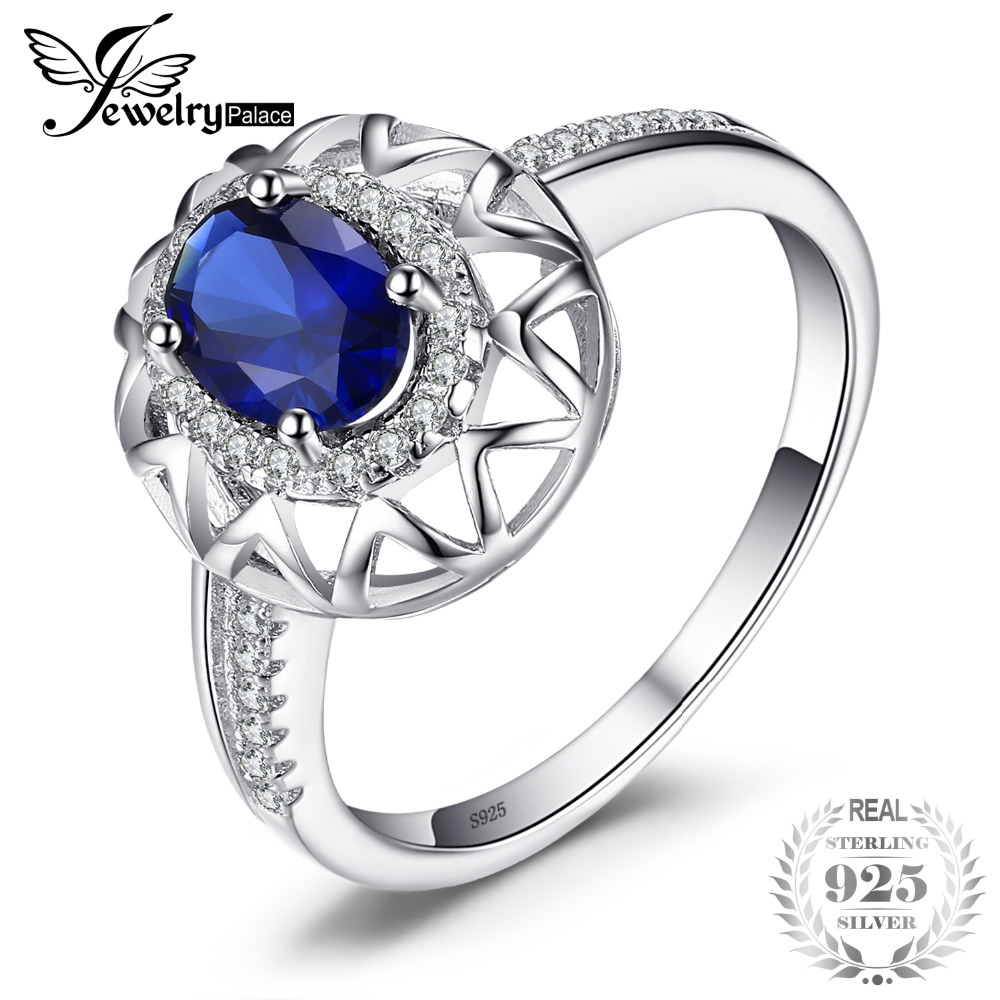 JewelryPalace Unique Design 1.2ct Created Blue Sapphire Ring 925 Sterling Silver Fine Jewelry for Women Statement Jewelry цена