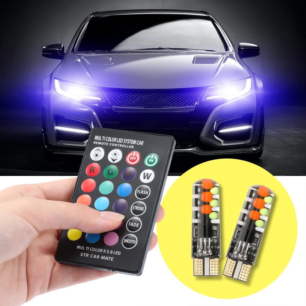 12V Car RGB LED T10 W5W LED RGB 5050 SMD Signal Lamp Reading Wedge Light Car Interior Decorative Lights Remote Car styling(China)