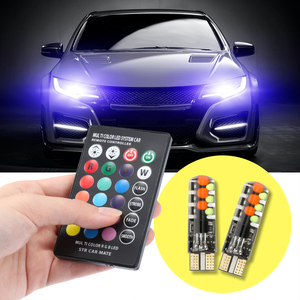 12V Car RGB LED T10 W5W LED RGB 5050 SMD Signal Lamp Reading Wedge Light Car Interior Decorative Lights Remote Car styling