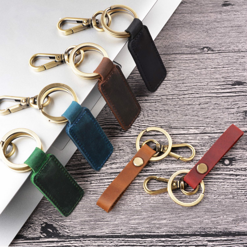 Real Cowhide Genuine Leather Keychain Pocket For Car Keys Clip Ring Women Men Handmade Accessories DIY Gift 2019 New Solid Brown