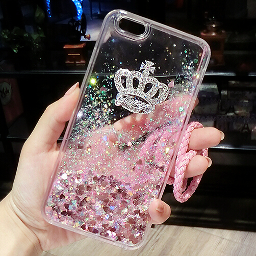 For Samsung Galaxy A9 2016 Phone Case Crown Glitter Liquid Soft TPU Cases for A9 A9000 Fundas Back Covers Coque with Chain