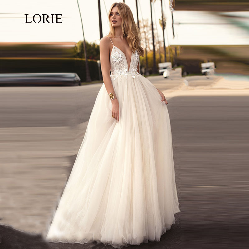 LORIE Ladies Beach Wedding Dresses A Line White Tulle Sexy Backless Appliqued with Flowers Free Shipping <font><b>Bridal</b></font> <font><b>Gowns</b></font> <font><b>2018</b></font> image