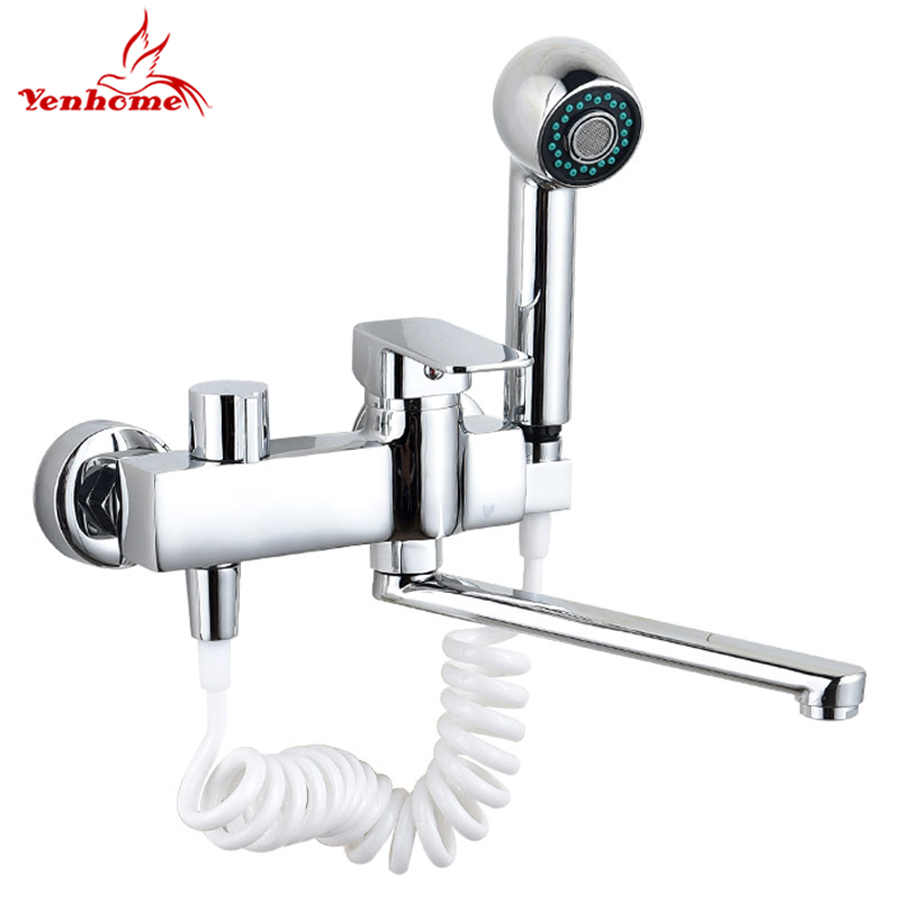 360 Rotate Solid Brass Pull Out Spray Faucet Chrome Brass Kitchen Faucet Cold And Hot Water Mixer Tap Single Handle Two Spouts