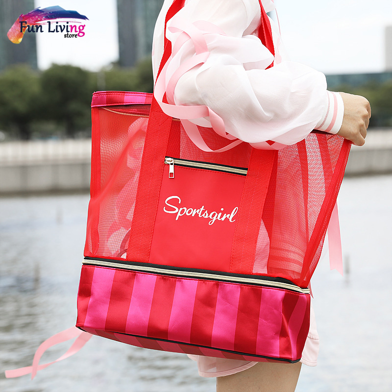 Swimming Bags Women Sports Mesh Bag Handbags Wet And Dry Swimsuit Bags Net Travel Pool Beach Pouch Collection Rcbag025