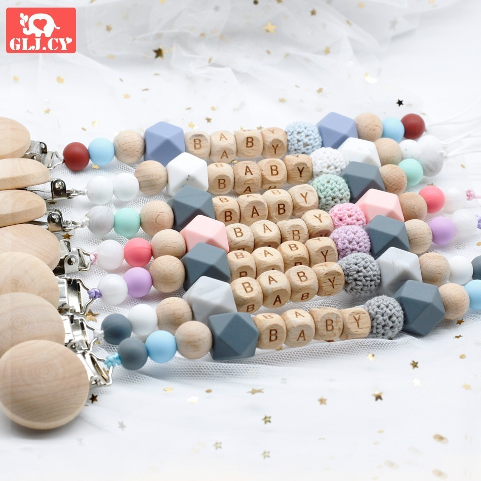Dummy Clip Pacifier Chain Holder Wood Silicone Bpa Free Baby Newborn Gift Custom Personalized Name Personalised Beads Beech
