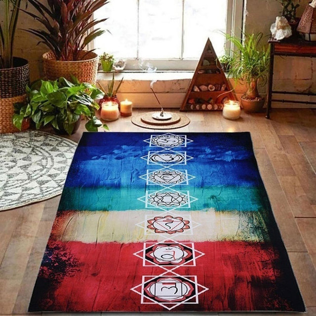 Tapestry Yoga Mat Scarf Shawl Colorful Polyester Tassel 150x75cm Breathable For Beach ASD88