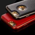 Couro de luxo para o iphone 6 + 6 s duplo cor de alumínio do quadro capa para iphone 6 6 + casos de telefone