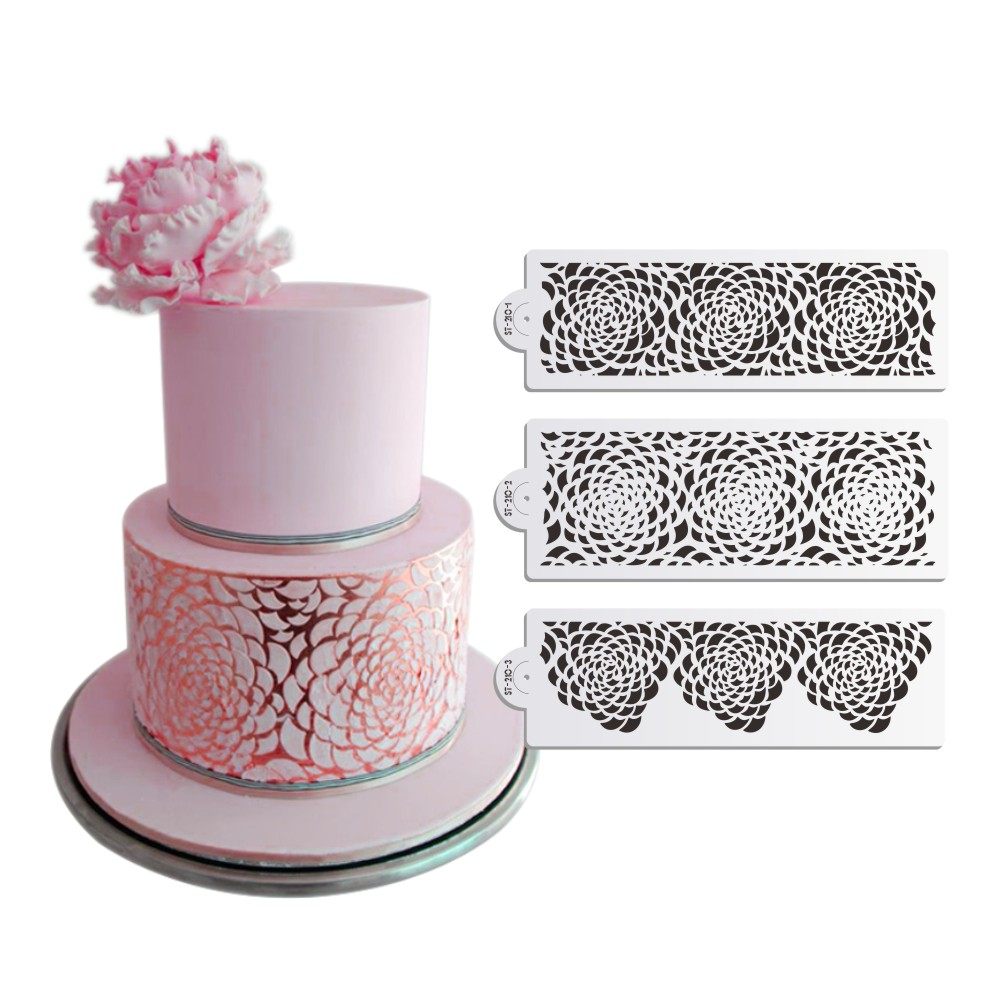 3PCS / SET Rose Decorating Stencil til Wedding Cake Decoration Airbrush Stencil Cake Plast Skabelon Fondant Værktøj DIY Bakeware