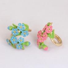 Синий и розовый цветок кольцо для женщин подарок на Рождество или день рождения для девочек
