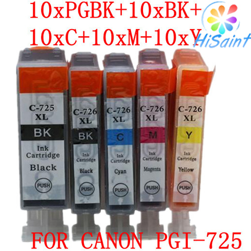 10 sets of PGI-725 CLI-726 cartridges compatible with Canon PIXMA MG5170 with full inkfor / MG5270 / esle