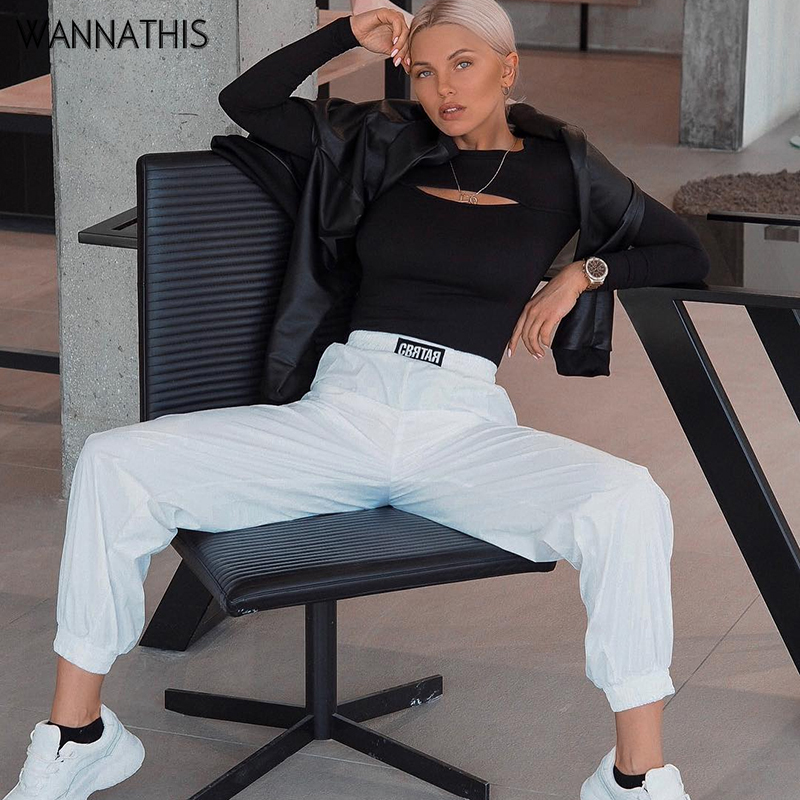 WannaThis Print  Letter High Waist Casual Sexy 2019 Summer Fashion Streetwear Sportwear Gogger Women Trousers