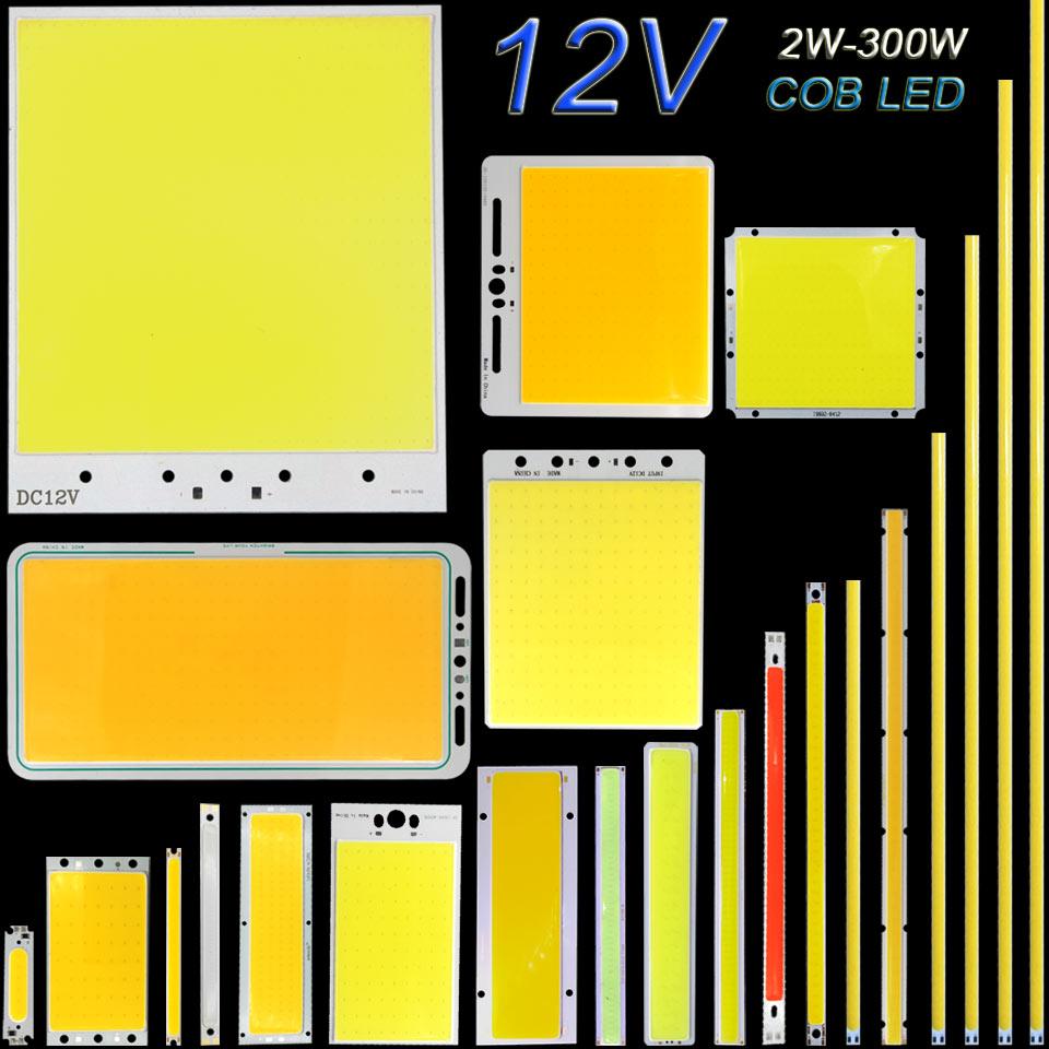 DC12V COB lumière LED panneau de bande 5W 10W 20W 50W 200W 300W LED ampoule blanc bleu rouge Flip puce COB lampe bricolage maison voiture éclairage 12V