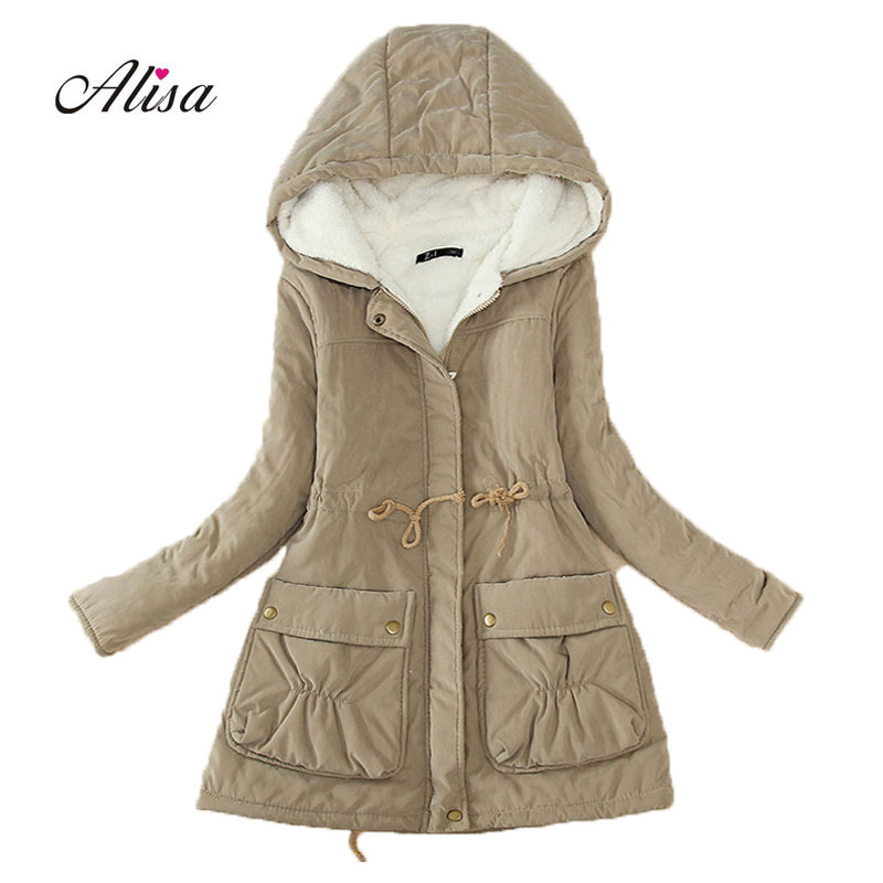 2018 New Winter Coats Women Casual Medium Long Black Padded Jackets Woman Hooded Warm Lamb Fleece Cheap   Parkas   Feminino Casaco