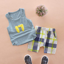 New Fashion Baby Kids Toddler Boys Sets Clothes 2 Pieces Short Sleeve Cartoon T-shirt Pants Summer lattice Cotton Set Suits DS19(China)