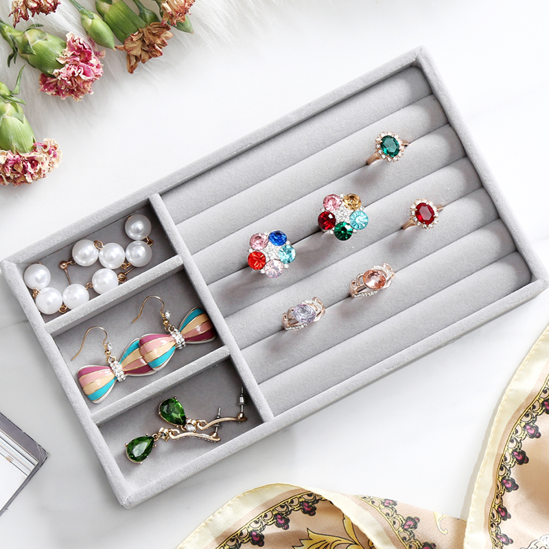 N Z High Quality Velvet Jewelry Tray Jewelry Display Holder Pendant Ring Earring Jade Pendan Stand Jewelry Storage OrganizerC232 in Jewelry Packaging Display from Jewelry Accessories