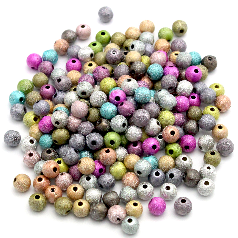 Lucia Crafts Mixed colors multi sizes options glitter Acrylic Beads Diy Beaded Meterial 028008170
