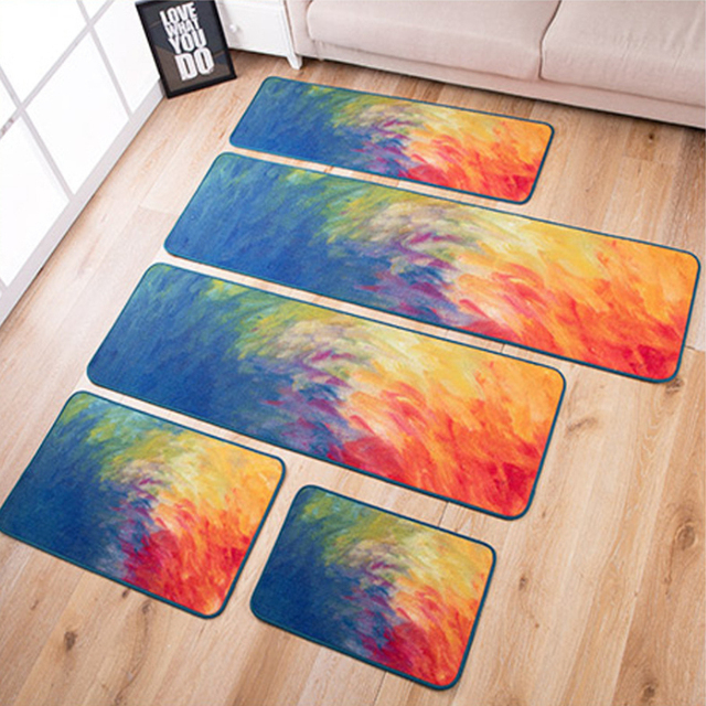 Big Living Room Carpet Oil Painting Rug Modern Kitchen Brief Carpet  BedRoom Thick Colorful Bedside Carpet Fashion Doormat