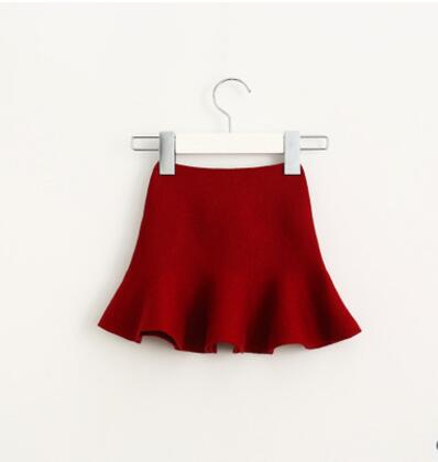 Очаровательная юбка для маленьких девочек; детские юбки-пачки с оборками; детская юбочка; уютные вязаные вечерние юбки; одежда для свадьбы; Рождественский подарок - Цвет: wine red