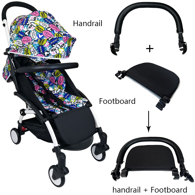 Baby Cart Footboard & Leather Bumper Bar & Handrest Baby Stroller Accessories Fit Yoyo Yoya YuYu Pram Armrest Footrest