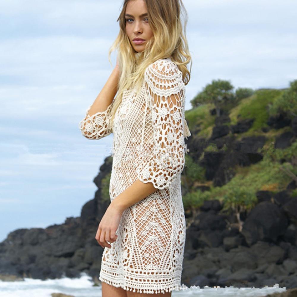 Пикантные спинки Бикини Cover Up вязаный Купальник Cover Up пикантные летние платье крючком пляжное платье Лидер продаж полые пляжная одежда