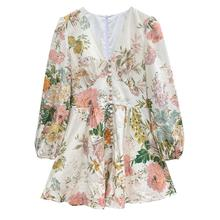 Banulin Spring Runway Holiday Rompers Female Sexy V-Neck High Waist Short Jumpsuit Womens Long Sleeve Vintage Floral Playsuits