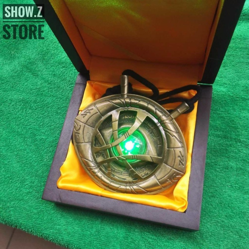 [HotSale][Show.Z Store] CATTOYS 1/1 Dr Doctor Strange Eye Of Agamotto Amulet Pendant Necklace LED Light