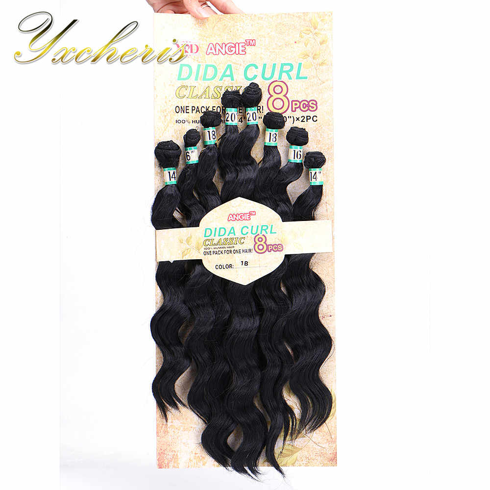 "YXCHERISHAIR 8Pcs/pack Synthetic Deep Wave Hair Bundles 14"" 16"" 18"" 20"" Ombre Black Blond Double Weft Hair Weave Extension"