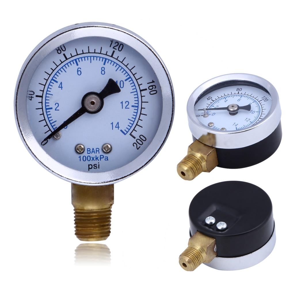 Metal Pressure Gauge 1/8 Male NPT Mini Air Compressor Hydraulic Pressure Gauge 200PSI Side Mount 1.5 Face Dial Plate y 150 150mm radial mount 0 1 25mpa air compressor pressure gauge dial diam pneumatic