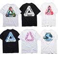 Palácio T camisa mulheres homens 1:1 de alta qualidade londres palácio skates triângulo estilo verão 100% algodão t-shirt Tee palácio T camisa