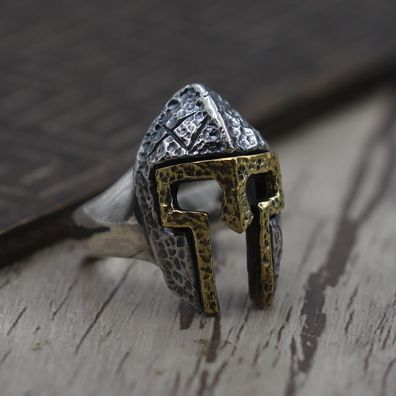 S925 Sterling Silver Ring Silver Vintage Retro Spartan mask men's ring opening domineering personality s925 sterling silver skull ring metrosexual officers personality of world war ii punk man retro silver ring opening
