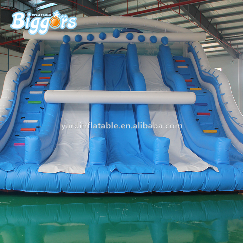 Commercial Use Factory Directly Sale Amusement Park Inflatable Triple Lane Slide commercial sea inflatable blue water slide with pool and arch for kids