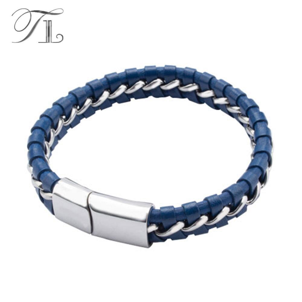TL Rock Braided Leather Chain Men's Bracelets Bangle Brown/Blue Best Friend Handmade Bracelet Wholesale Top Quality Bracelets