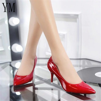 Hot Selling Women Shoes Pointed Toe Pumps Patent Leather Dress Red 8CM High Heels Boat Shoes Shadow Wedding Shoes Zapatos Mujer 3
