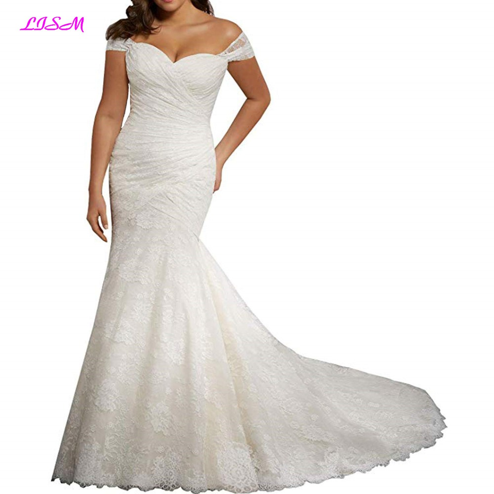 Sweetheart Straps Tulle Mermaid Wedding Dresses Long Plus Size Lace Appliques Bridal Gowns Elegant Sweep Train Wedding Gowns