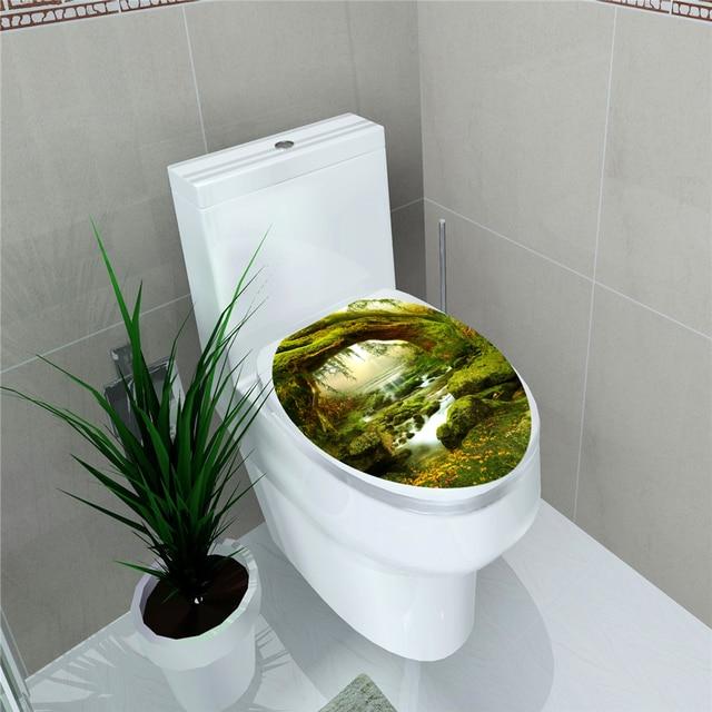 Décor à la maison Stickers muraux créatifs 1PC 3D siège de toilette autocollant mural vinyle Art papier peint amovible salle de bain décalcomanies décor à la maison MA17