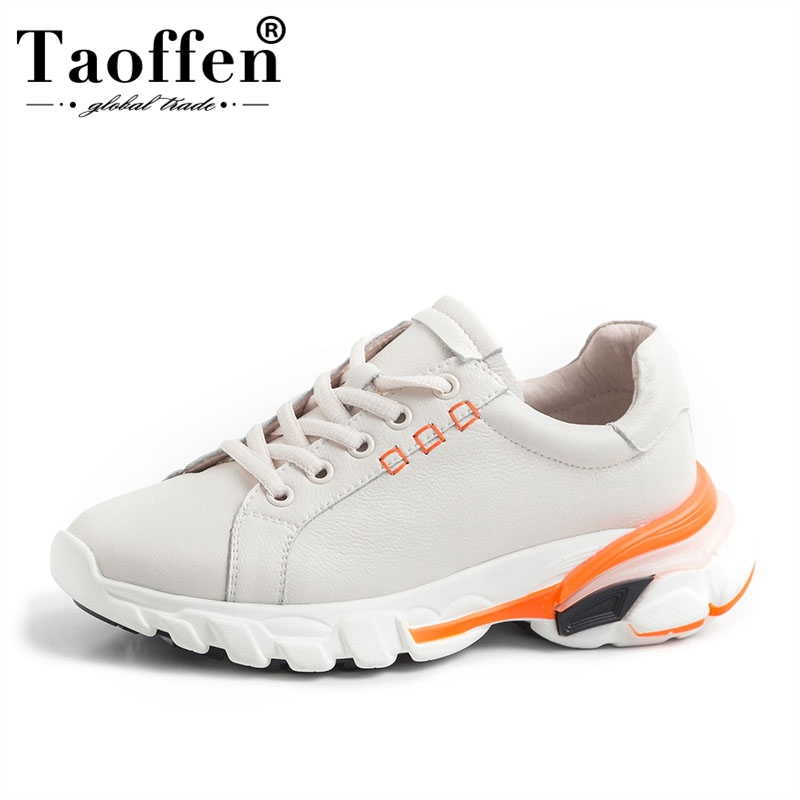 Taoffen Women Genuine Leather Sneakers Platform Ins High Quality Vulcanized Shoes Leisure Outdoor Shoes Women Size 35-41Taoffen Women Genuine Leather Sneakers Platform Ins High Quality Vulcanized Shoes Leisure Outdoor Shoes Women Size 35-41