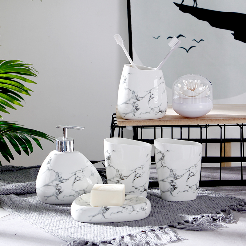 Image 3 - 6pcs/set Imitation marble ceramics Bathroom Accessories Set Soap Dispenser/Toothbrush Holder/Tumbler/Soap Dish Bathroom Products-in Bathroom Accessories Sets from Home & Garden