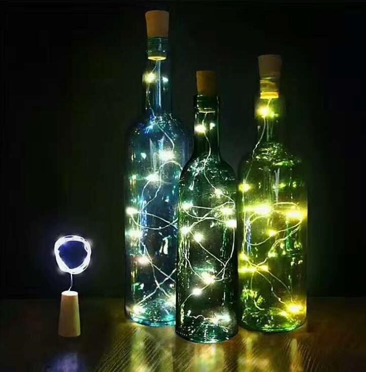 Confident Cork Shaped Wine Bottle Stopper String Lights 2 Meters 20 Leds Silver Copper Wire Diy Christmas Halloween Wedding Party Crafts High Quality Goods Led Lamps Lights & Lighting